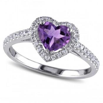 Heart Shaped Amethyst & Diamond Halo Engagement Ring 14k White Gold 1.50ct