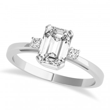 Diamond Emerald Cut Three-Stone Ring 14k White Gold (1.04ct)