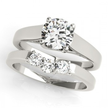 Diamond Solitaire Bridal Set 14k White Gold (1.24ct)
