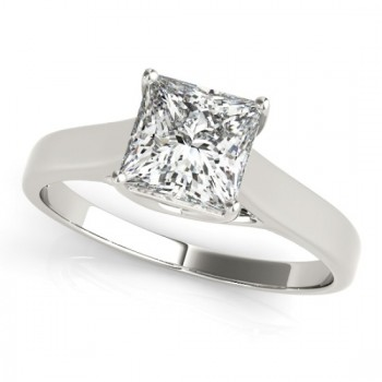 Diamond Princess Cut Solitaire Bridal Set 14k White Gold (1.24ct)