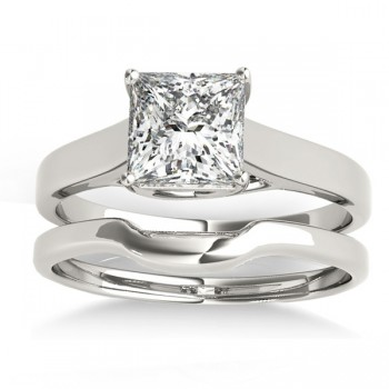 Solitaire Bridal Set 14k White Gold