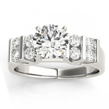 Diamond Chanel Set Double Row Engagement Ring 14k White Gold (0.48ct)
