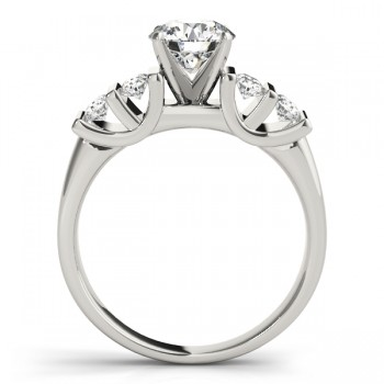 Diamond Channel Set Antique Engagement Ring 14k White Gold (0.48ct)