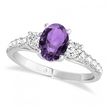 Oval Cut Amethyst & Diamond Engagement Ring Setting 14k White Gold (1.15ct)
