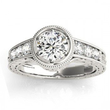 Diamond Antique Style Engagement Ring Setting 14K White Gold (0.24ct)