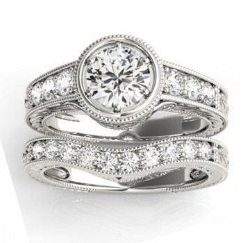 Diamond Antique Style Bridal Set Setting 18K White Gold (0.47ct)