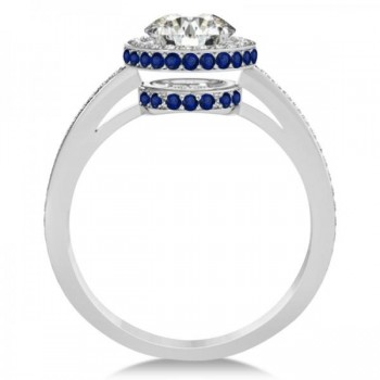 Diamond Halo & Sapphire Gemstone Engagement Ring 14k White Gold 1.50ct