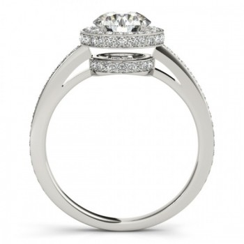 Halo Diamond Engagement Ring Setting Shank Accents 18k W. Gold 0.50ct
