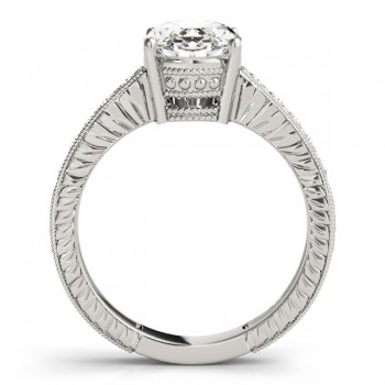 Diamond Accented Oval Engagement Ring Setting 14k White Gold 0.10ct