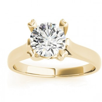 Solitaire Cathedral Prong-Set Engagement Ring Setting 14K Yellow Gold