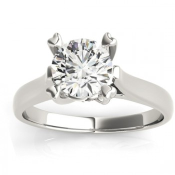 Solitaire Cathedral Prong-Set Engagement Ring Setting Platinum