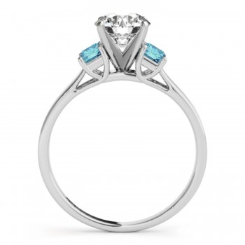 Trio Emerald Cut Blue Diamond Engagement Ring 14k White Gold (0.30ct)