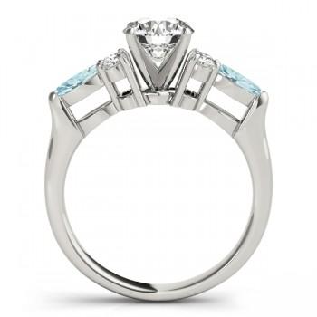 Aquamarine Marquise Accented Engagement Ring Platinum .66ct