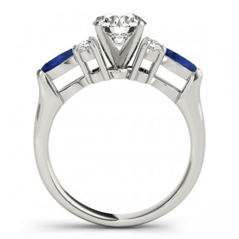 Blue Sapphire Marquise Accented Engagement Ring 14k White Gold .66ct