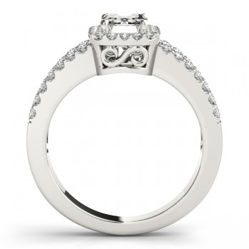 Emerald Cut Diamond Engagement Ring, Split Shank 14k White Gold 1.52ct