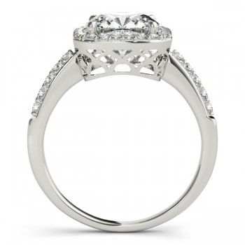 Cushion Cut Diamond Halo Engagement Ring w/ Accents 14k W. Gold 0.50ct