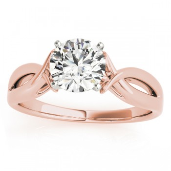 Solitaire Bypass Twisted Engagement Ring Setting 14k Rose Gold