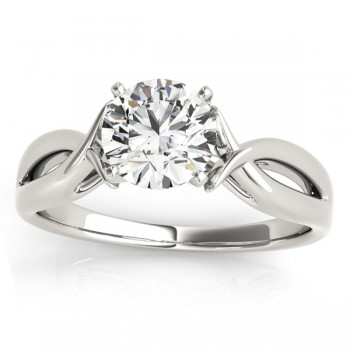 Solitaire Bypass Twisted Engagement Ring Setting 14k White Gold