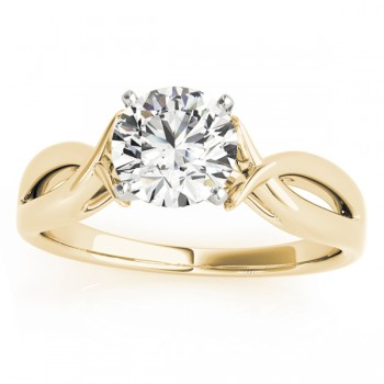Solitaire Bypass Twisted Engagement Ring Setting 14k Yellow Gold