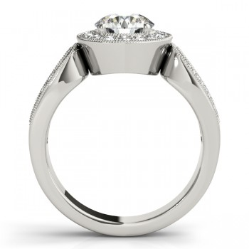 Art Deco Split Shank Diamond Halo Engagement Ring 14k White Gold 1.33ct