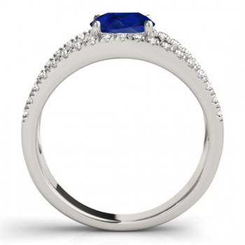 Blue Sapphire Split Shank Engagement Ring 14K White Gold (0.84ct)