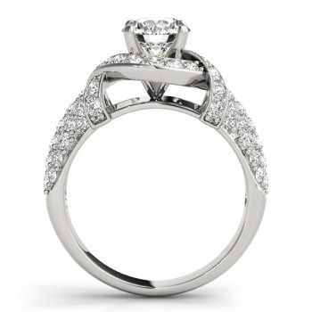 Diamond Twisted Engagement Ring 14k White Gold (0.58ct)