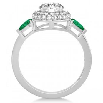 Pear Cut Emerald & Diamond Engagement Ring Setting Platinum 0.75ct