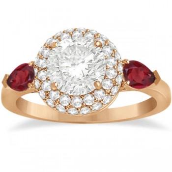 Pear Shape Ruby & Diamond Engagement Ring Setting 14k R. Gold (0.75ct)