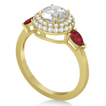Pear Shape Ruby & Diamond Engagement Ring Setting 14k Y. Gold (0.75ct)