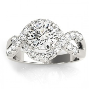 Diamond Twisted Band Engagement Ring Setting 14K White Gold (0.98ct)