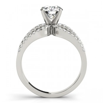 Diamond Triple Row Engagement Ring 14k White Gold (0.52ct)