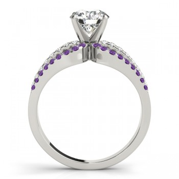 Diamond & Amethyst Triple Row Engagement Ring 14k White Gold(0.52ct)