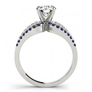 Diamond & Blue Sapphire Triple Row Engagement Ring 14k White Gold(0.52ct)