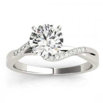 Diamond Bypass Engagement Ring 14k White Gold (0.09ct)