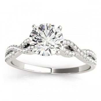 Diamond Swirl Sidestone Accented Engagement Ring Setting 14k White Gold (0.22ct)