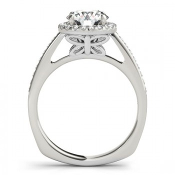 Diamond Halo Butterfly Engagement Ring 14K White Gold (0.26ct)