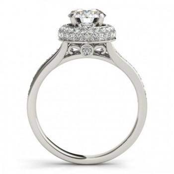 Diamond Split Shank Halo Engagement Ring 14k White Gold (0.45ct)