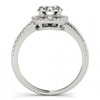 Diamond Accented Halo Engagement Ring Setting 14K White Gold (0.33ct)
