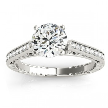 Diamond Antique Bridal Set Ring 14k White Gold (0.24ct)