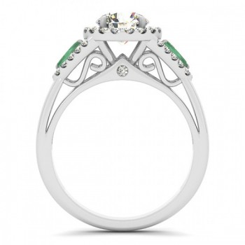 Diamond & Marquise Emerald Engagement Ring 14k White Gold (0.59ct)