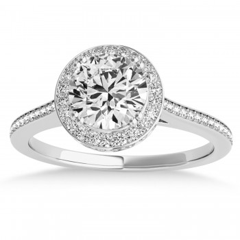 Diamond Halo Round Engagement Ring in 14k White Gold (0.48ct)