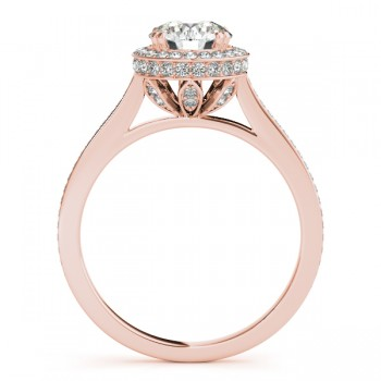 Diamond Halo Round Engagement Ring in 18k Rose Gold (0.48ct)