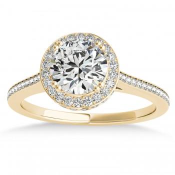 Diamond Halo Round Engagement Ring in 18k Yellow Gold (0.48ct)