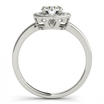 Diamond Halo Engagement Ring 14k White Gold (0.10ct)