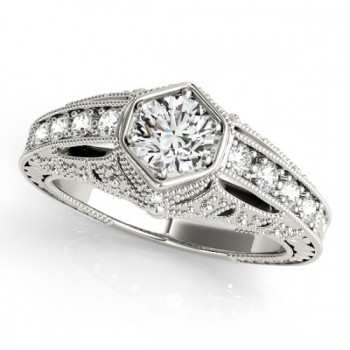 Diamond Antique Style Engagement Ring 14k White Gold (0.62ct)