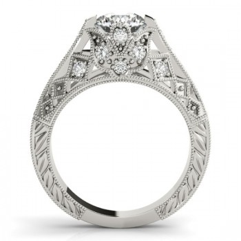 Diamond Antique Style Engagement Ring Setting 14K White Gold (0.20ct)