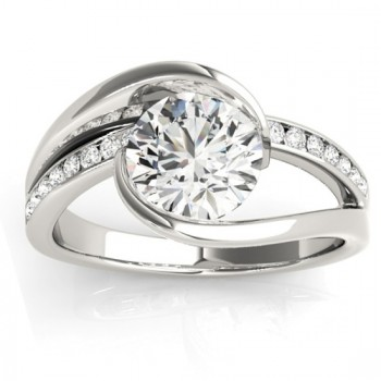 Diamond Tension Set Engagement Ring Setting 18K White Gold (0.19ct)