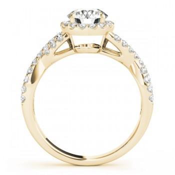 Diamond Decked Two Sided Infity Shape Engagement Ring Setting 14k Yellow Gold (0.52ct)
