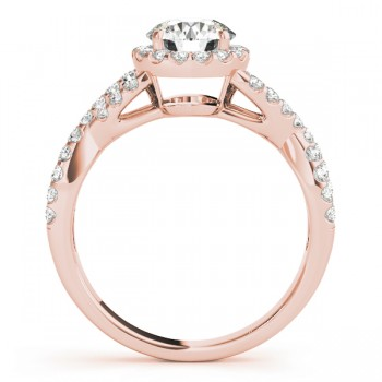 Diamond Decked Two Sided Infity Shape Engagement Ring Setting 18k Rose Gold (0.52ct)