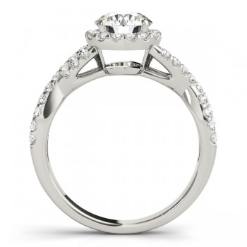 Diamond Decked Two Sided Infity Shape Engagement Ring Setting 18k White Gold (0.52ct)